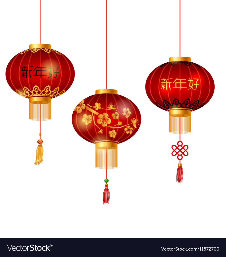 Set of Red Chinese Lanterns Circular for Happy New