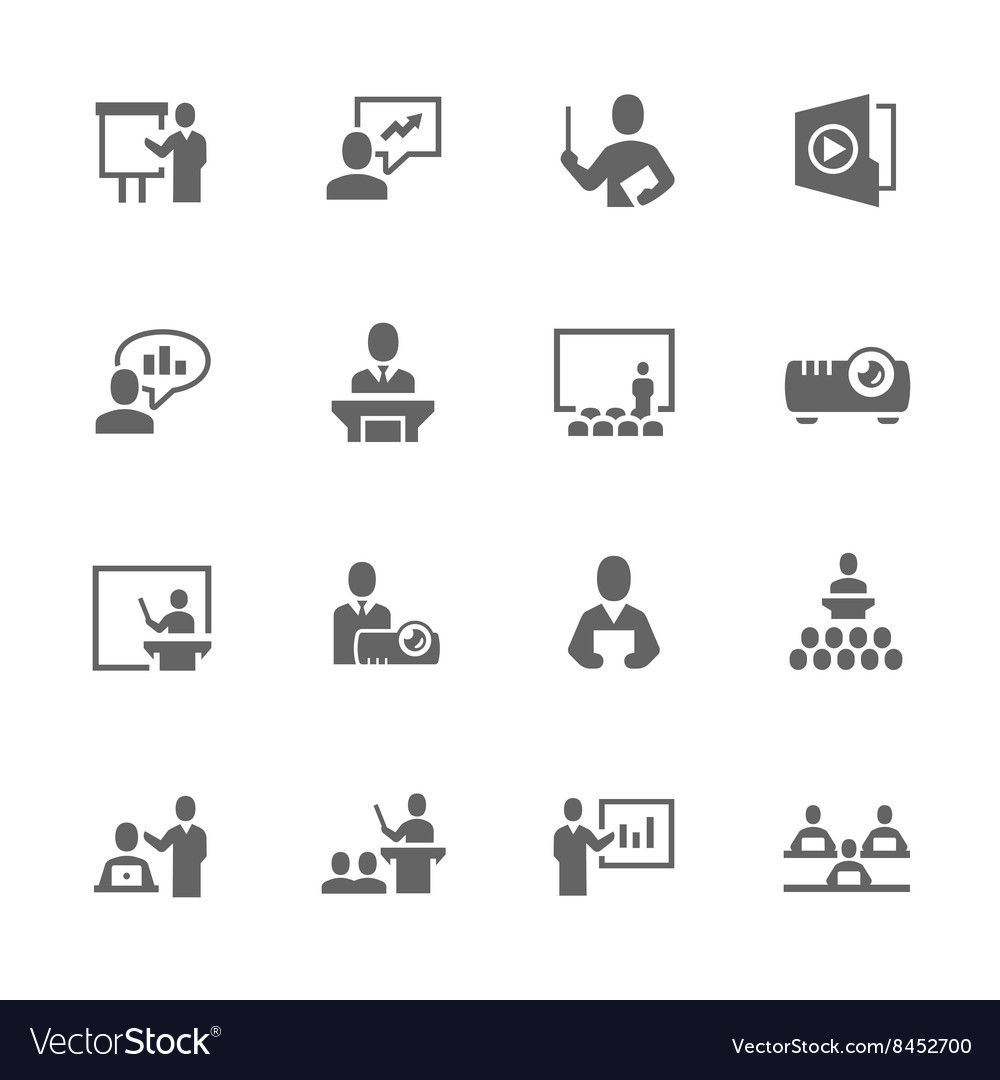 Simple Business Presentation Icons vector image