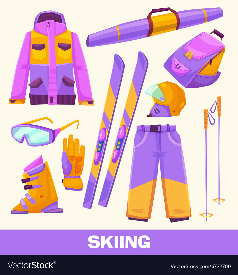 Skiing elements clothes and tools