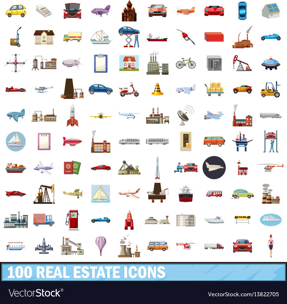 100 real estate icons set cartoon style