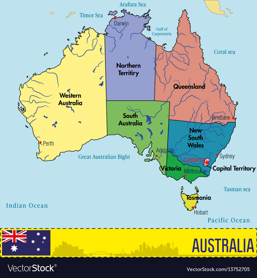Australia Map Canberra.Australia Map With Regions And Their Capitals