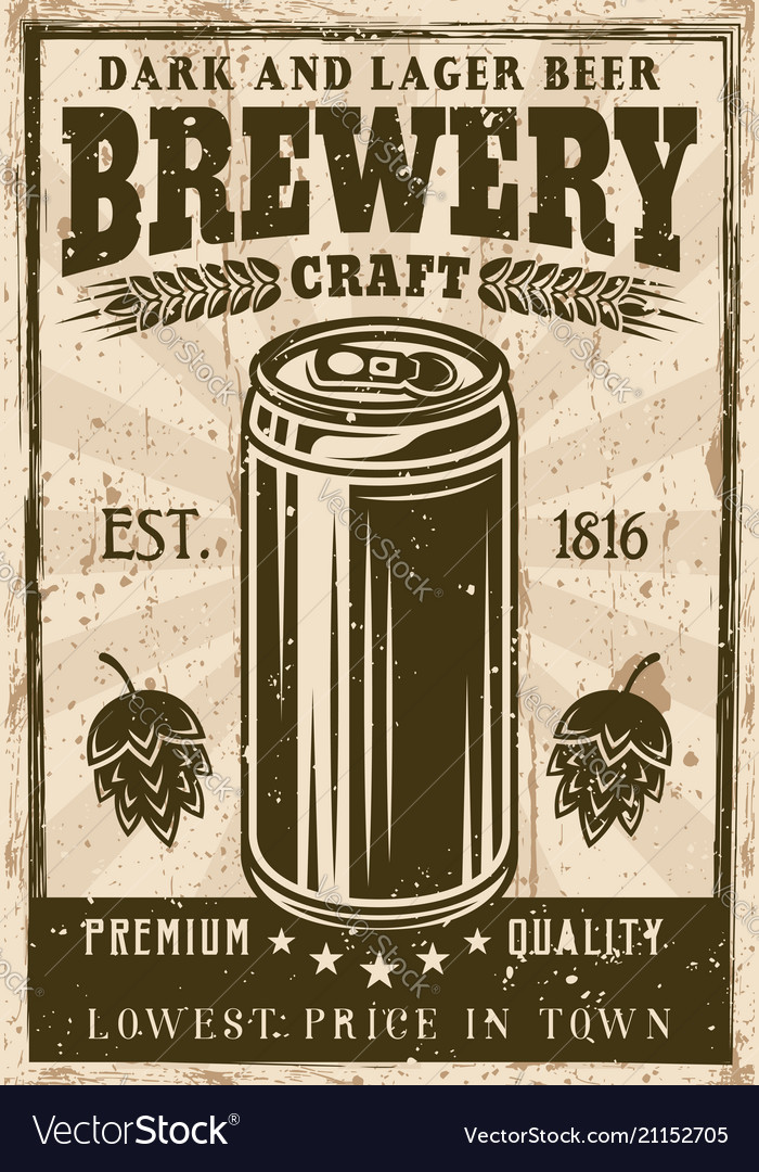 Brewery vintage poster with beer can