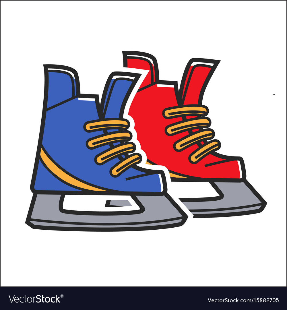 Canadian Traditional Hockey Skates Isolated Vector Image