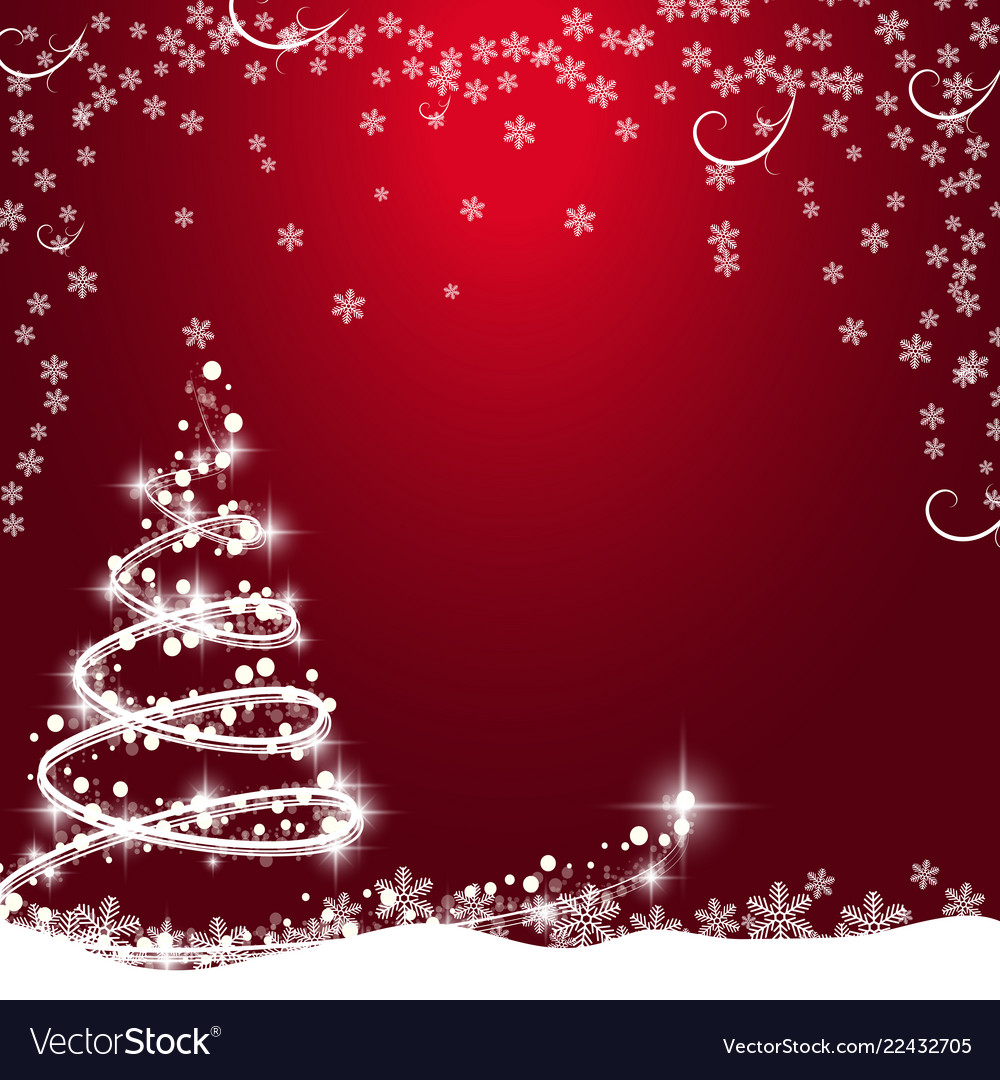 Red Christmas Tree.Christmas Background With Christmas Tree
