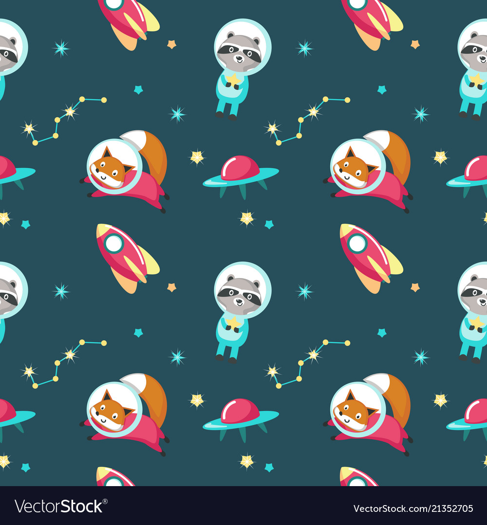 Cute animals in cosmos seamless pattern