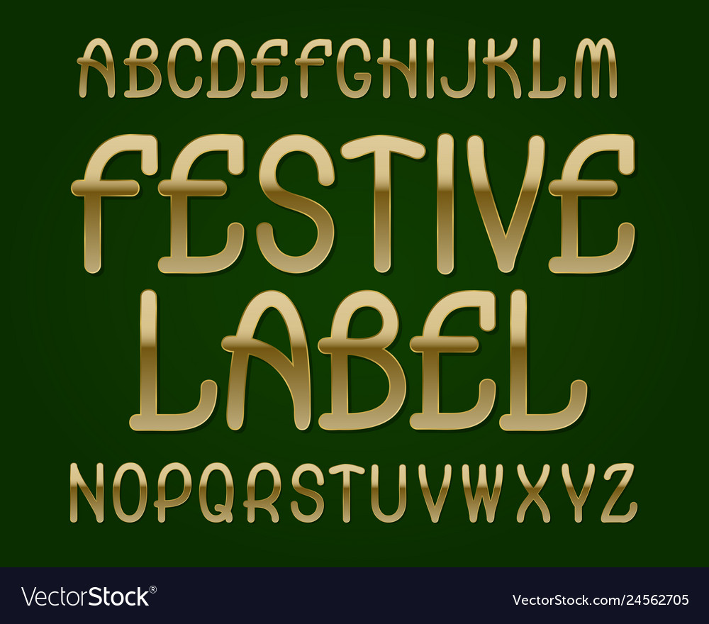 Festive label typeface golden font isolated