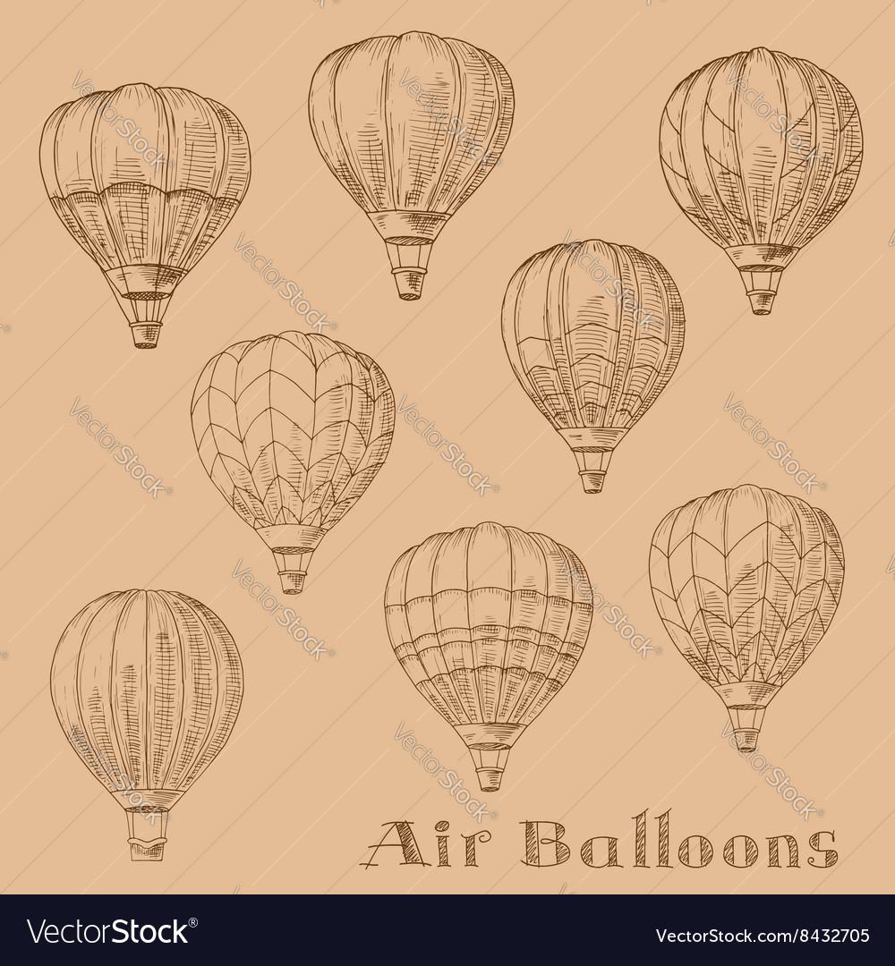 Flying hot air balloons retro engraving sketches