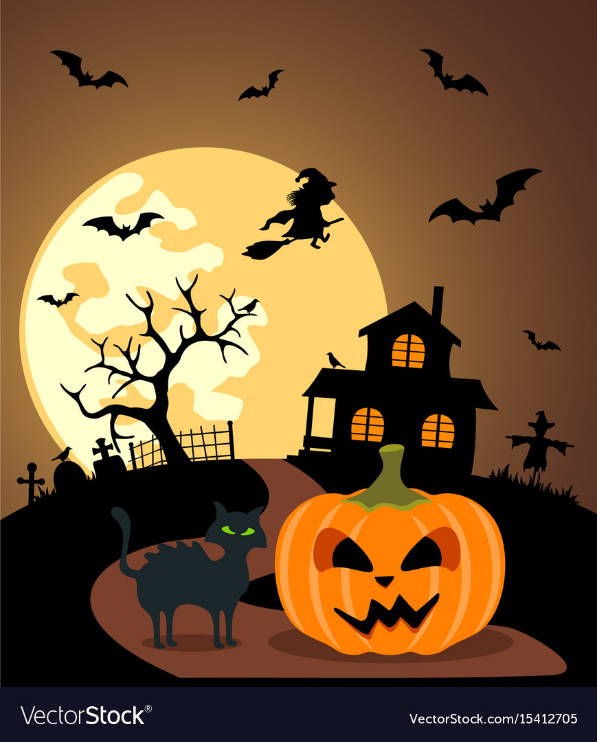 Halloween background with pumpkin and full moon