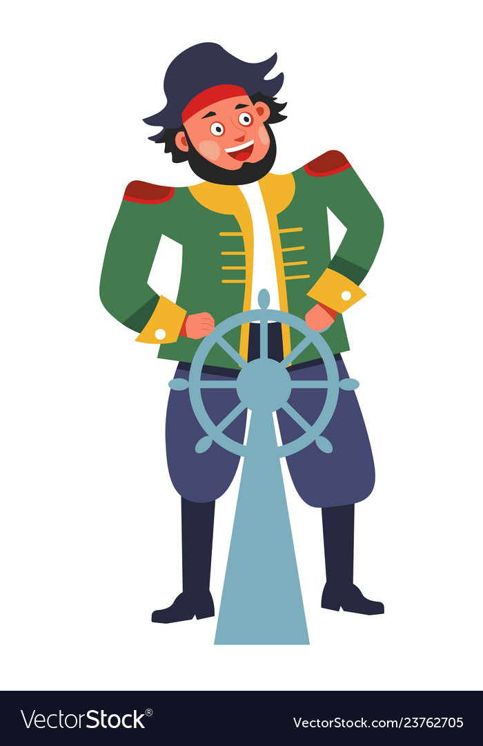 Pirate with steering wheel or rudder isolated male