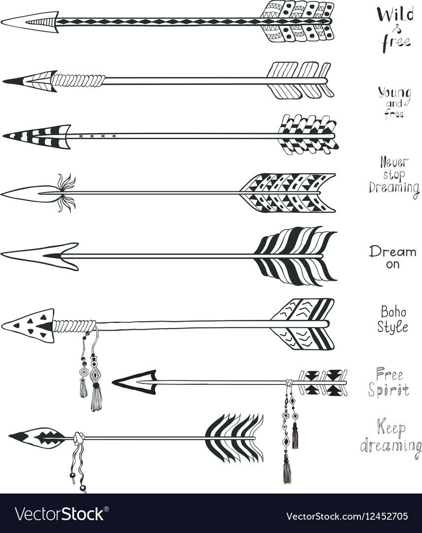 Set of Hand Drawn Arrows and Boho Design Elements vector image