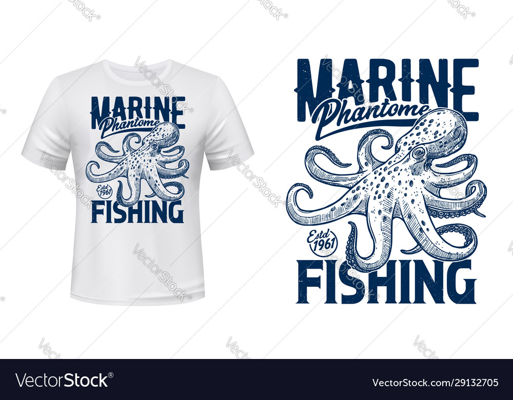 T-shirt prin with ocean octopus