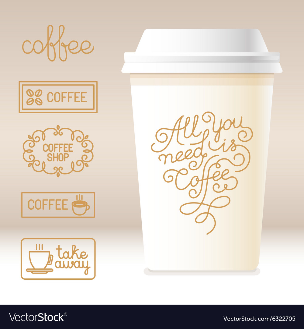 Take away coffee cardboard cup with linear design vector image