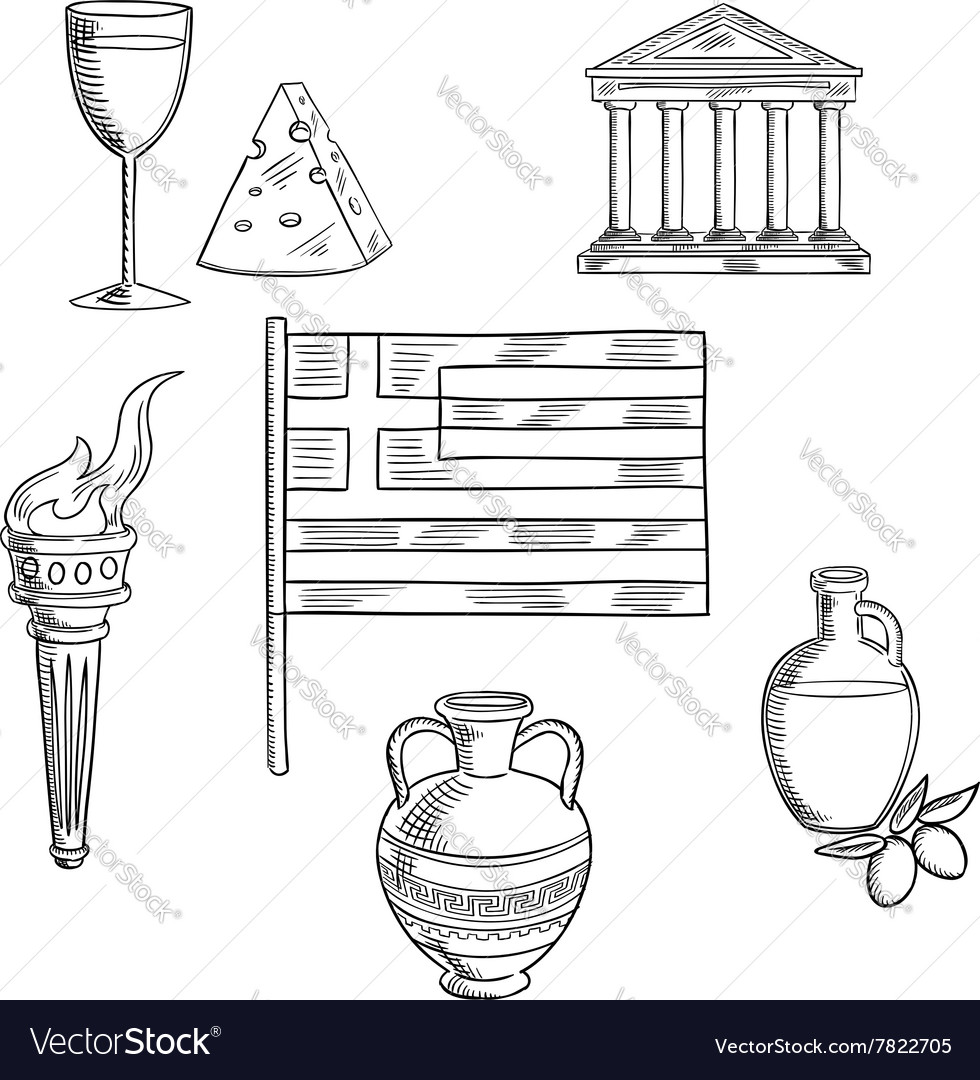 Traditional Greece Symbols And Culture Objects Vector Image