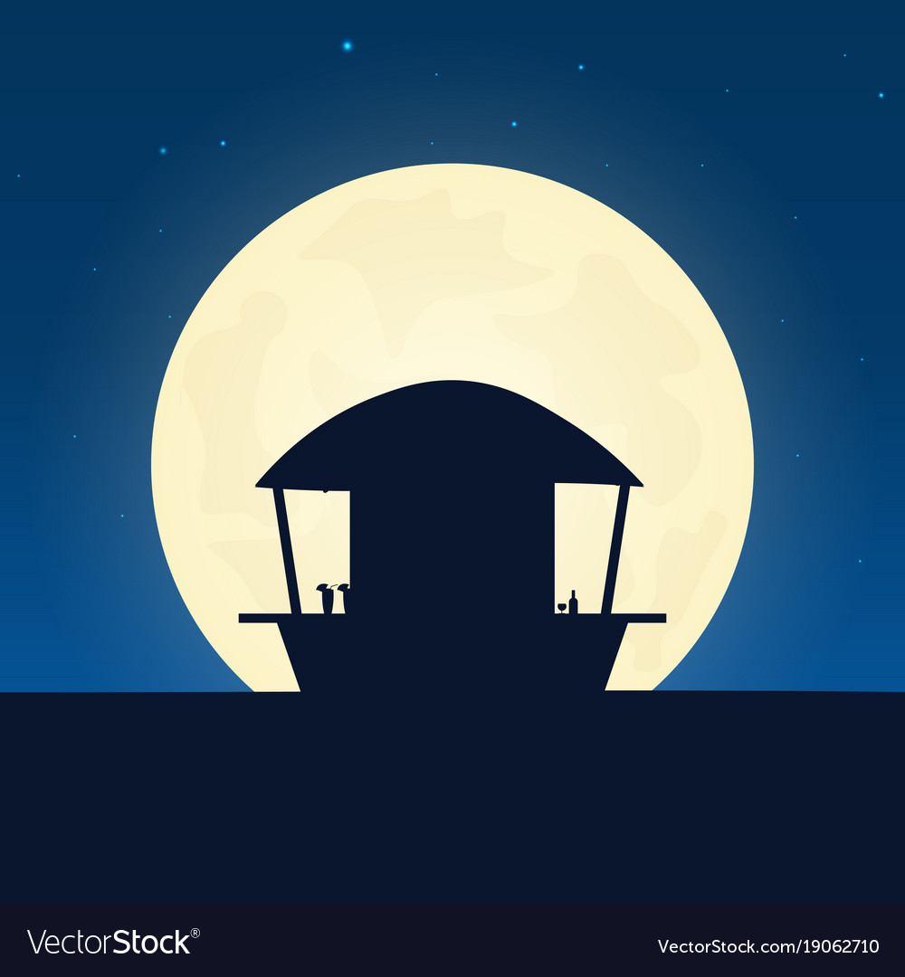 Beach bar silhouette banner with moon on the