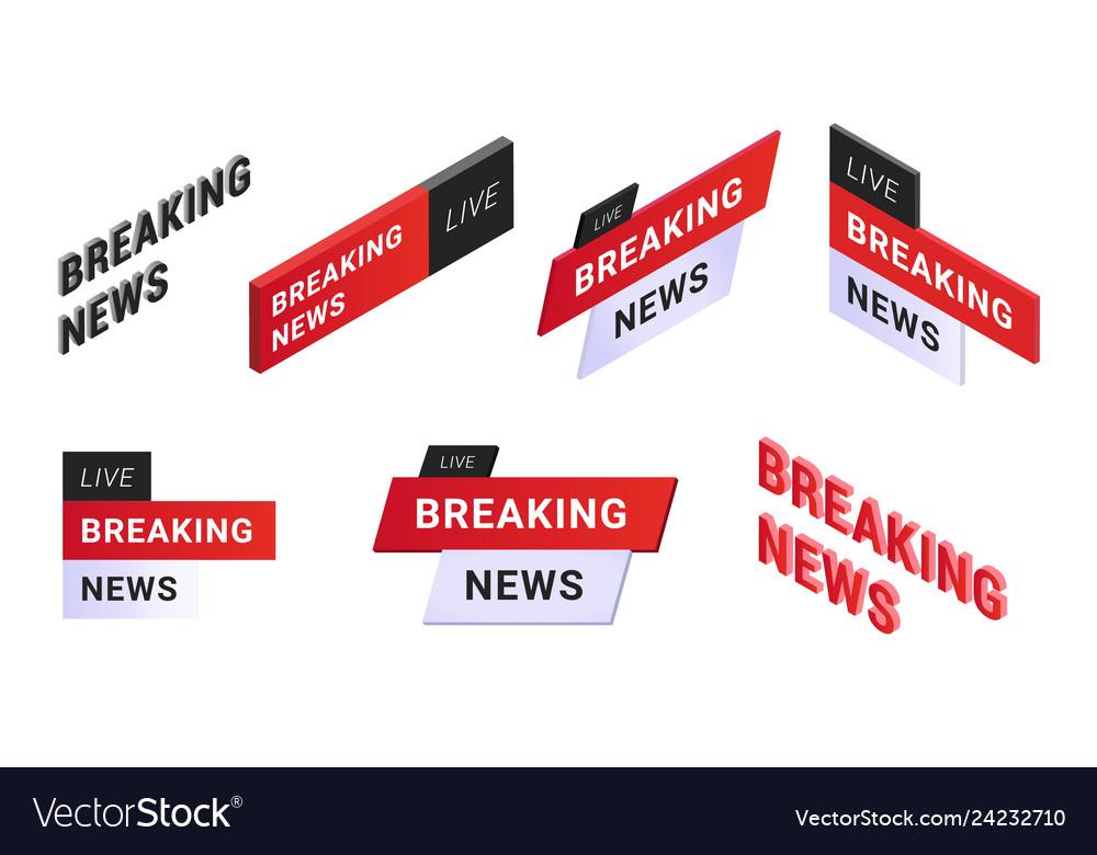 Breaking news logo set