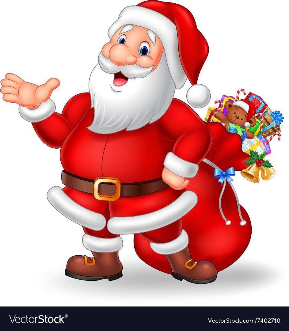 Cartoon funny santa presenting isolated