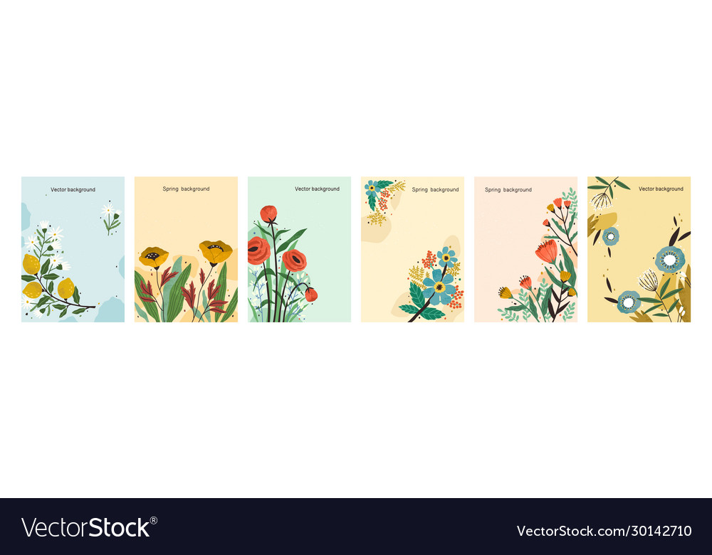 Collection colorful natural spring backgrounds