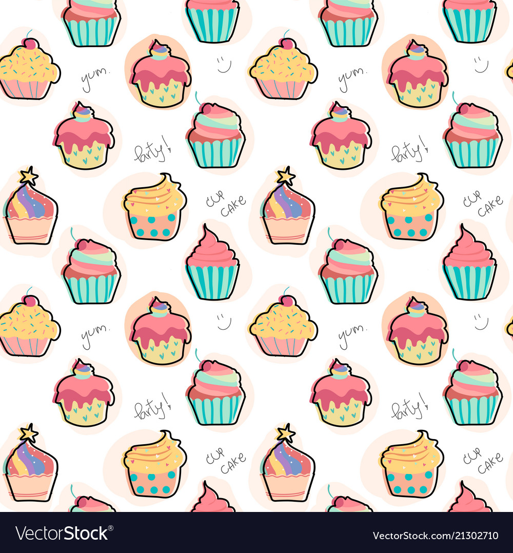 Doodle pastel cupcake pattern seamless background