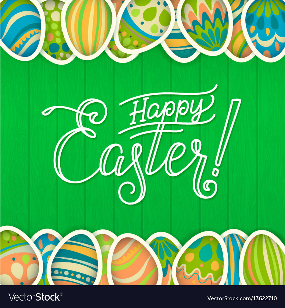Happy easter greeting card green wooden