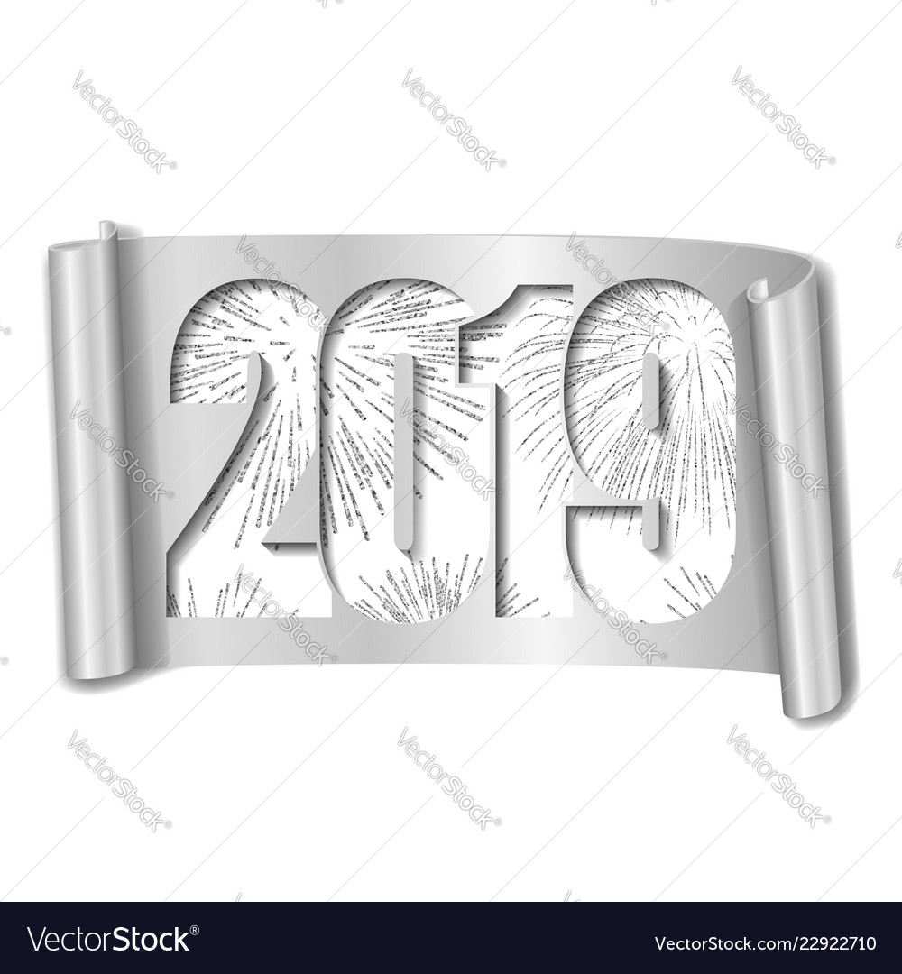 Happy New Year Card White Number 2019 Silver Vector Image