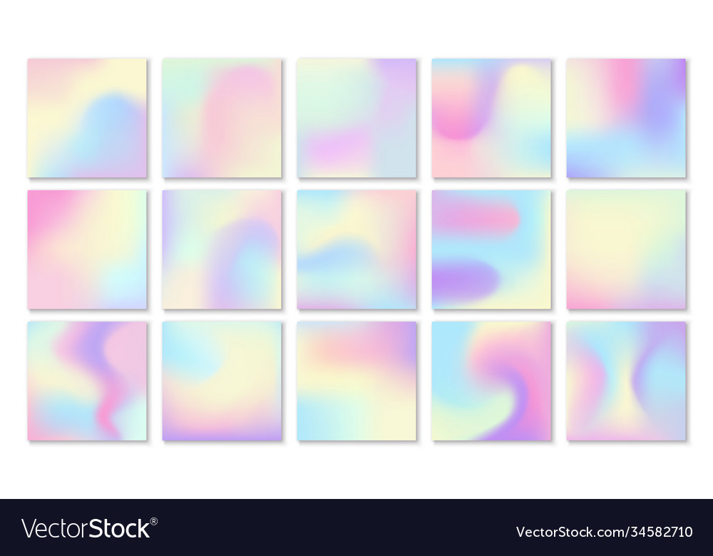 Holographic backgrounds petrol gradient blotches vector