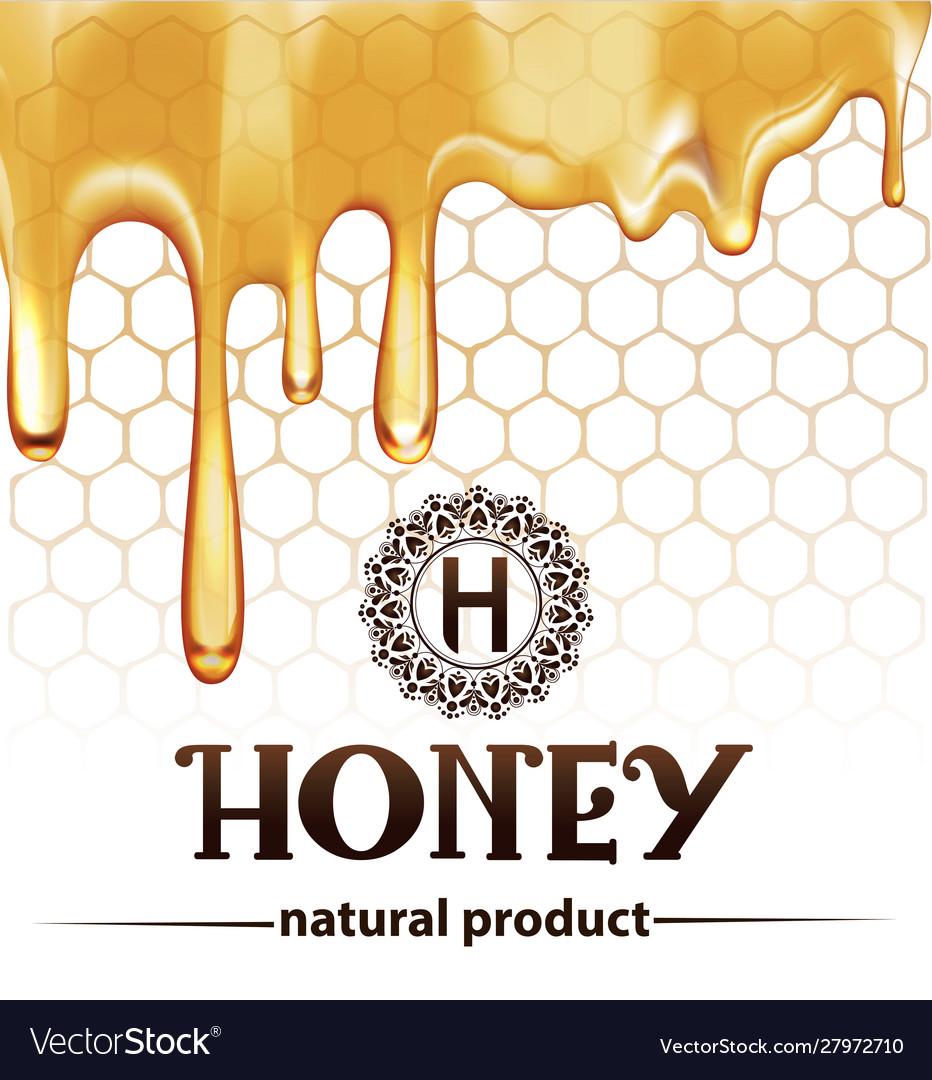 Honey splash dripping sweet drops from bee honeyco