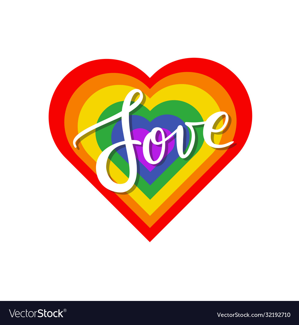 Love sign on lgbt flag in a form heart