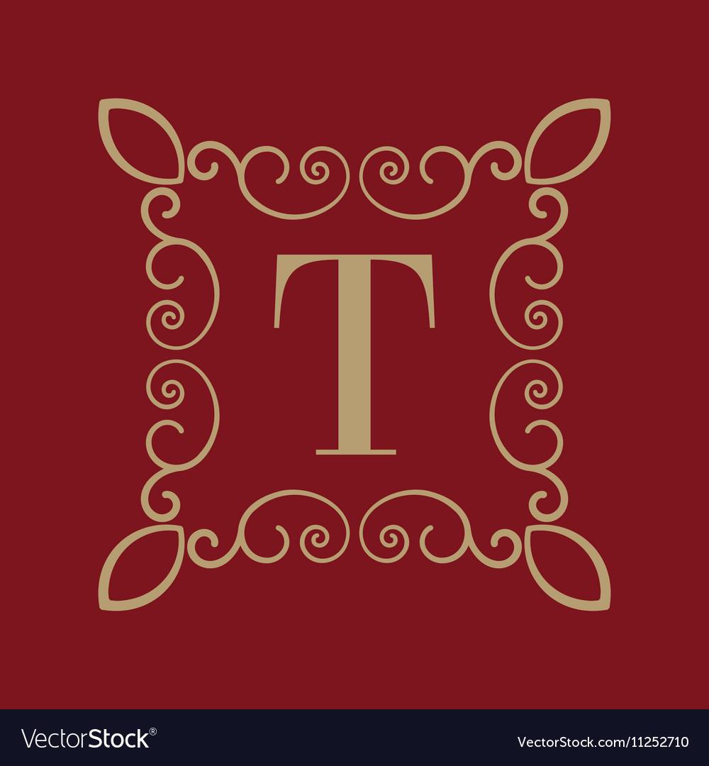 Monogram letter T Calligraphic ornament Gold