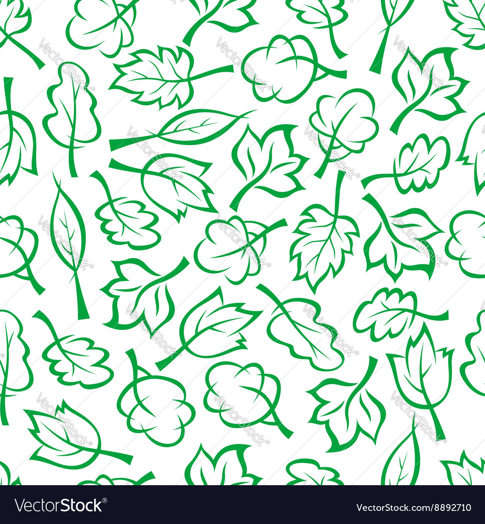 Spring green trees and bushes seamless pattern