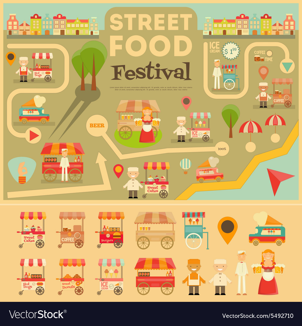 Street Food On City Map Royalty Free Vector Image