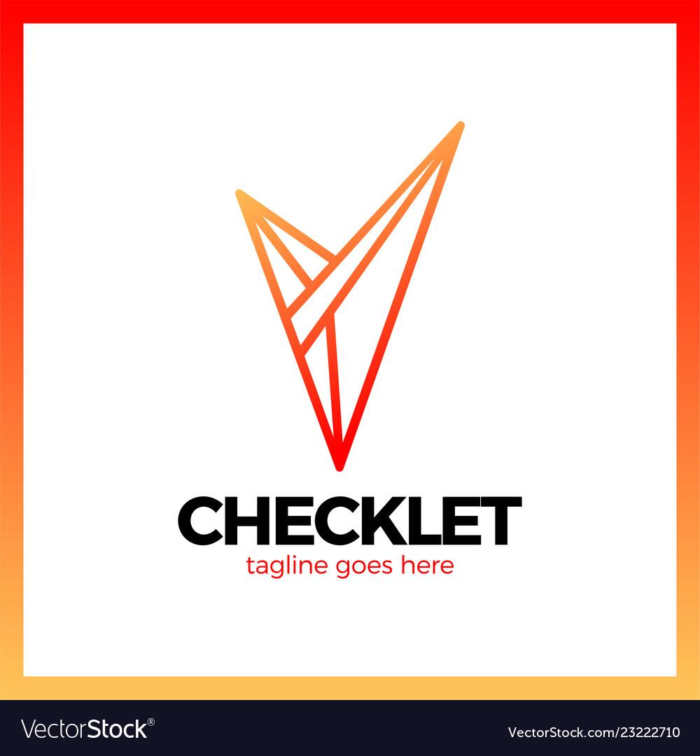 V letter in trendy polygonal crystal style