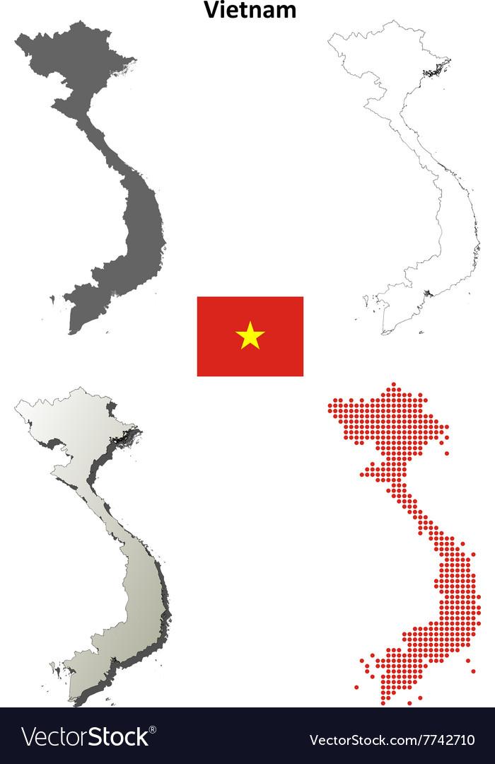 Vietnam outline map set