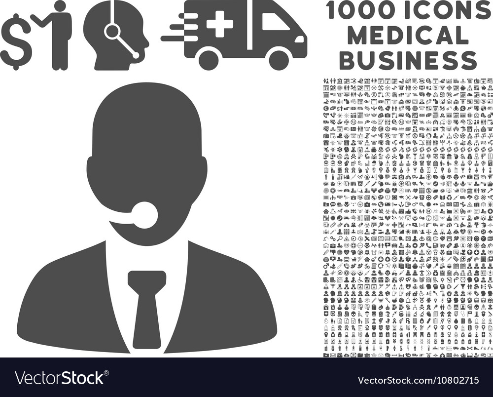 Call Center Manager Icon with 1000 Medical vector image