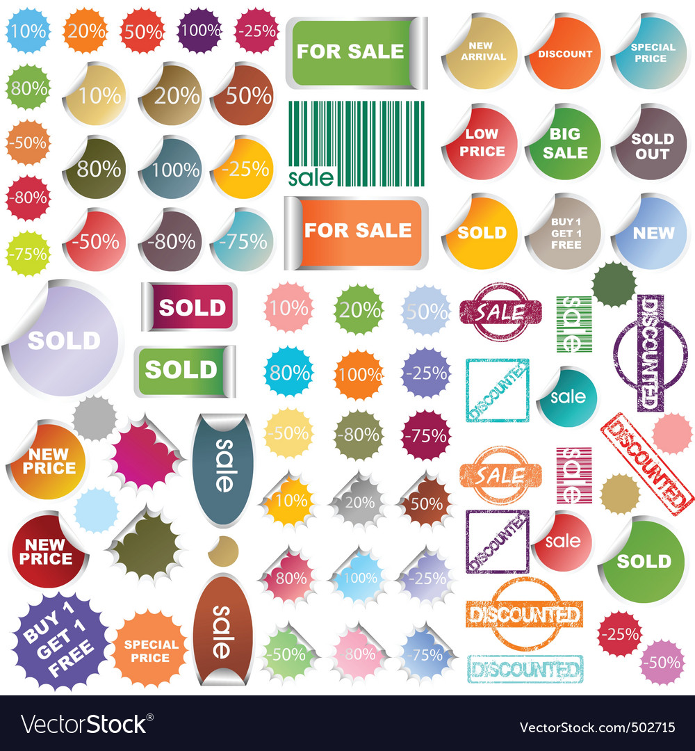 Colored promotional stickers and stamps vector image