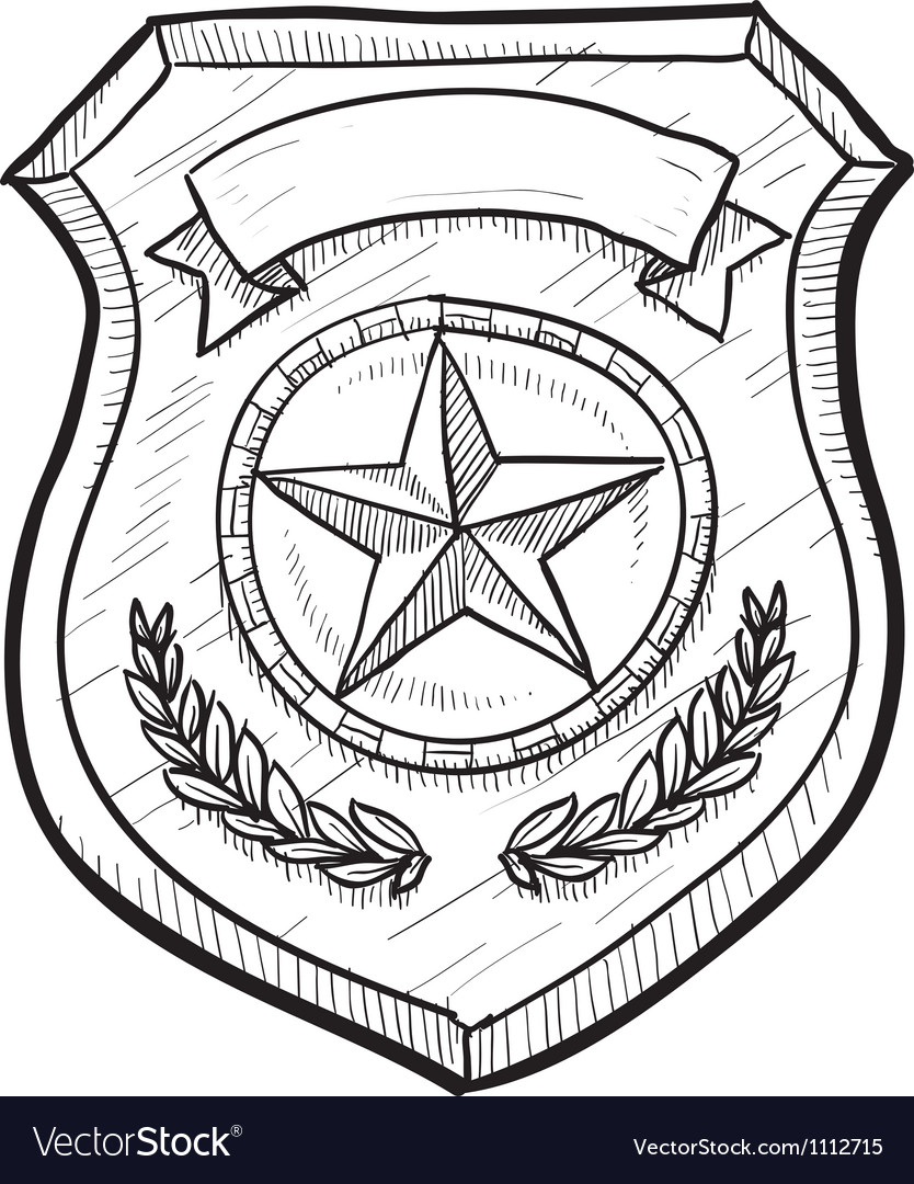 doodle police badge royalty free vector image vectorstock