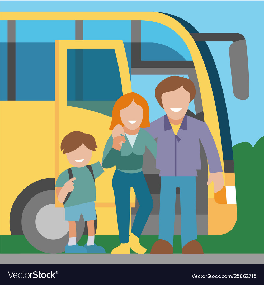 Family travel bus background banner