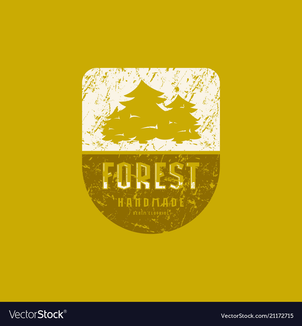 Forest emblem with rough texture for t-shirt