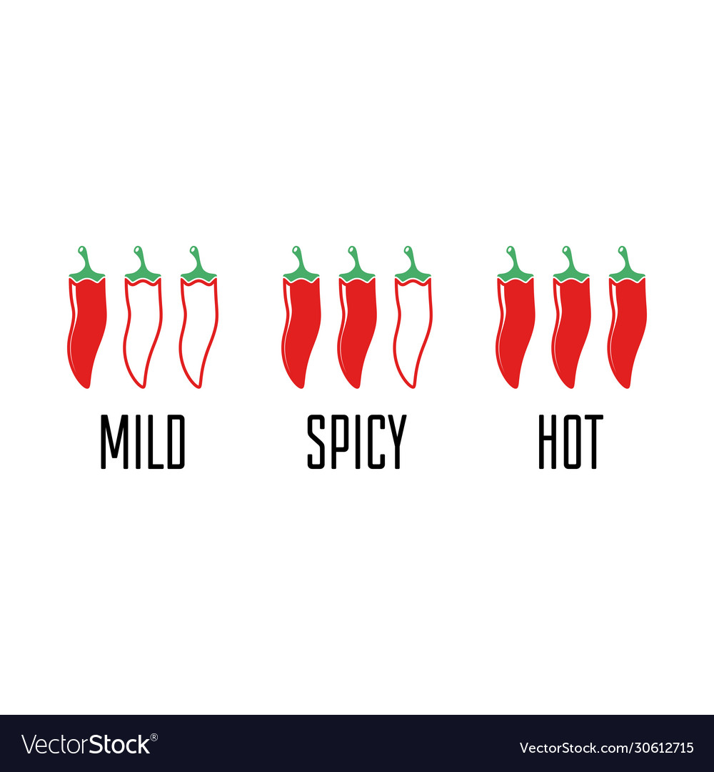 Spicy chili pepper level labels