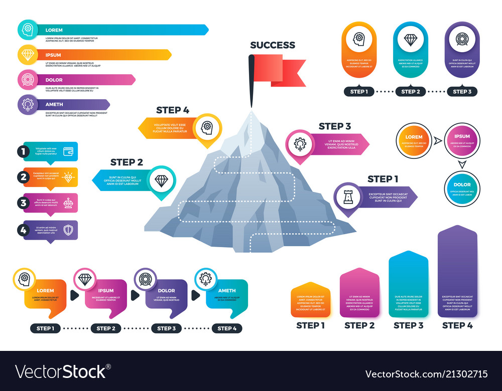 Steps to success infographics mountain graph with