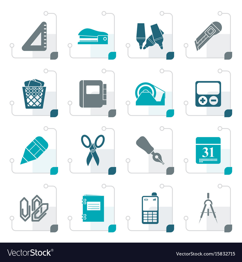 Stylized business and office objects icons