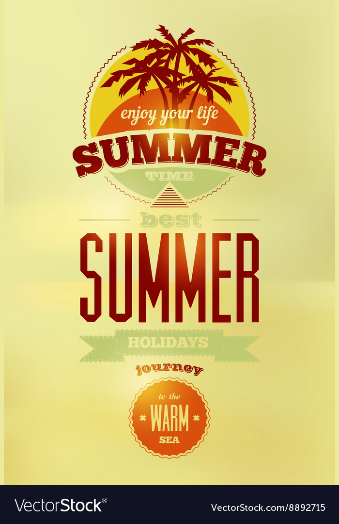 Summer time retro poster Typographical design vector image on VectorStock