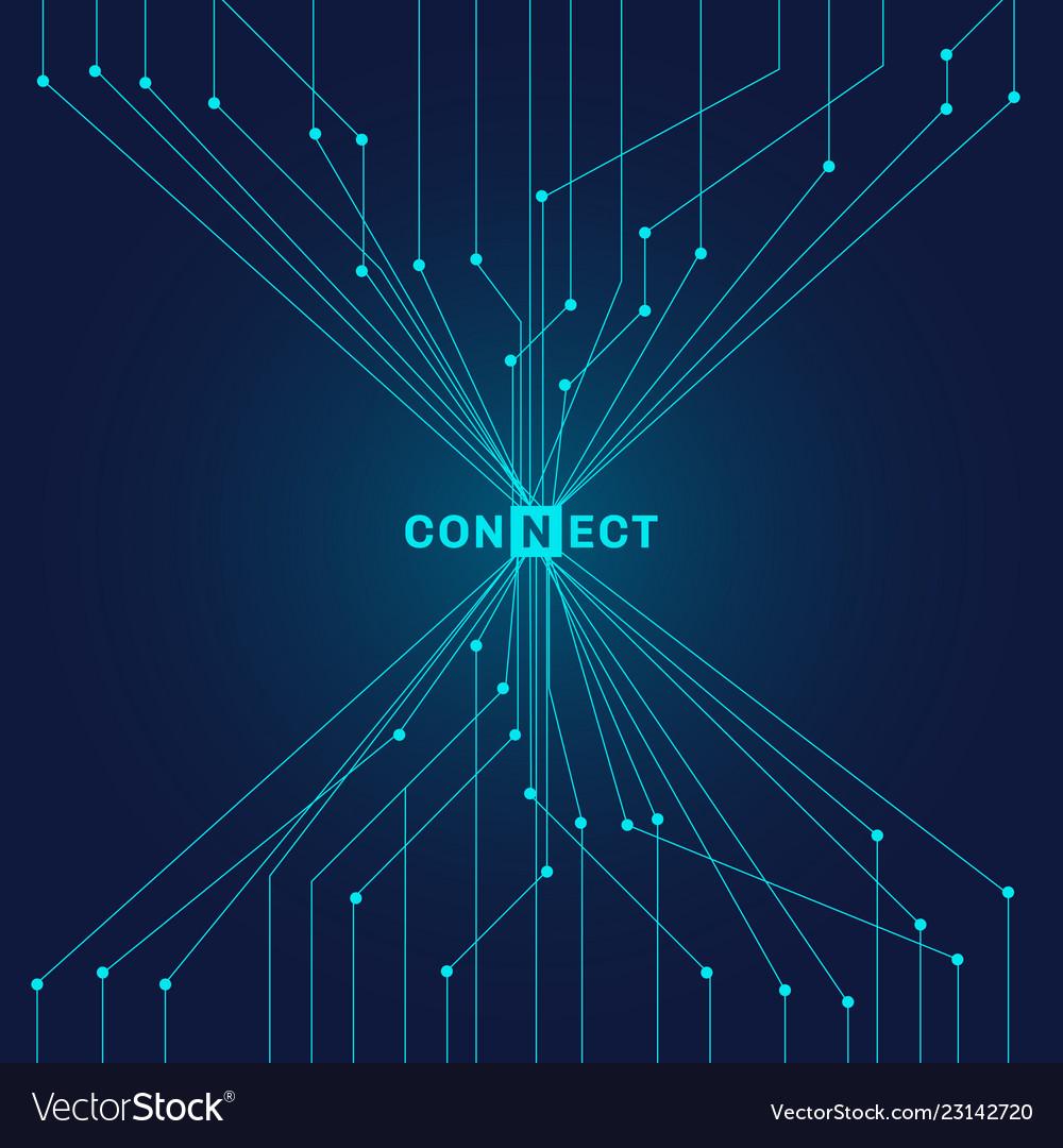 Abstract futuristic blue circuit board on dark