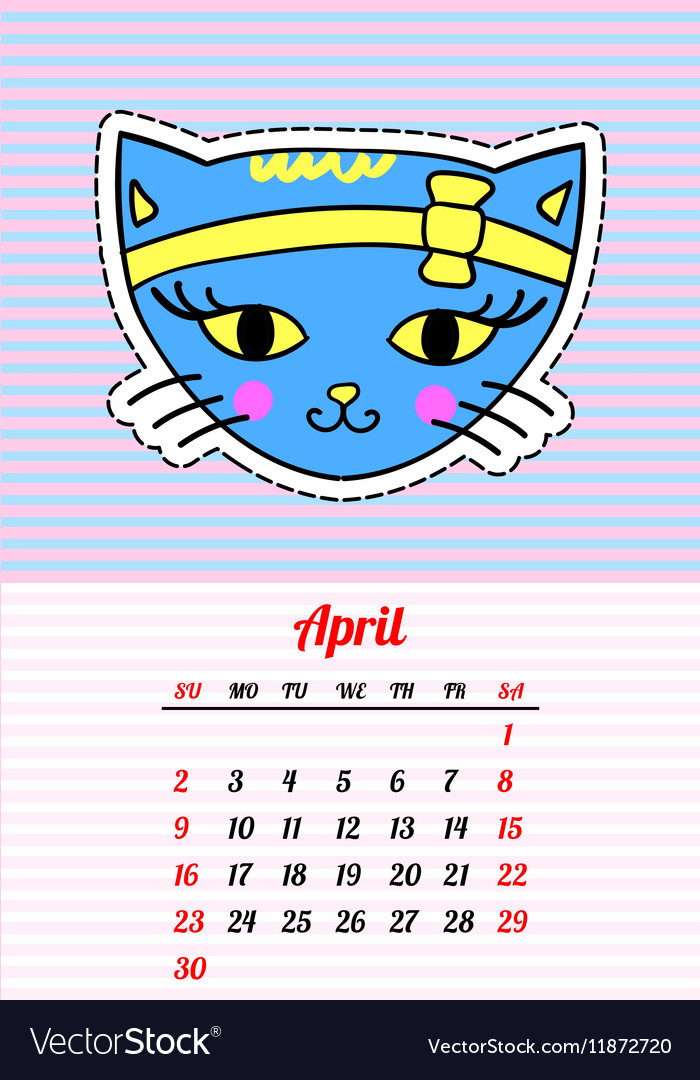 Calendar 2017 with cats April In cartoon 80s-90s