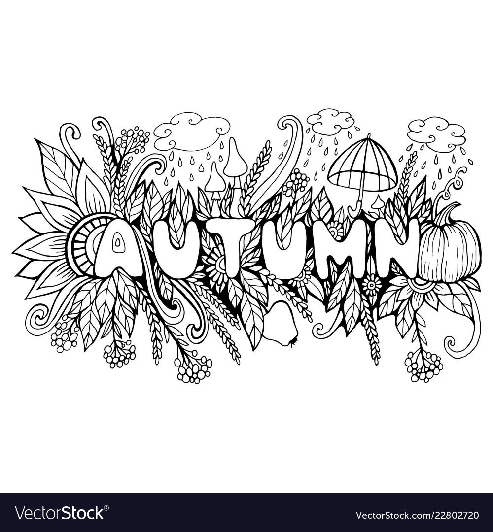 Cartoon autumn word with doodle elements pumpkin