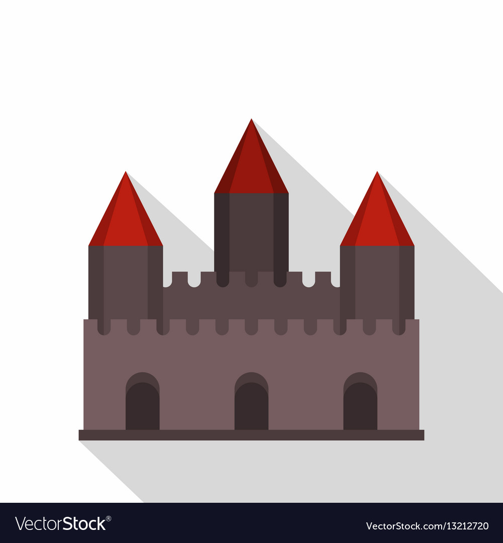 Castle tower icon flat style vector image