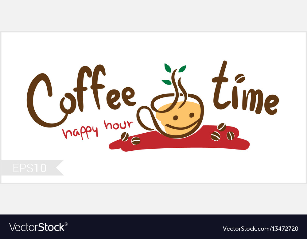 Coffee time happy hour for badge label vector image