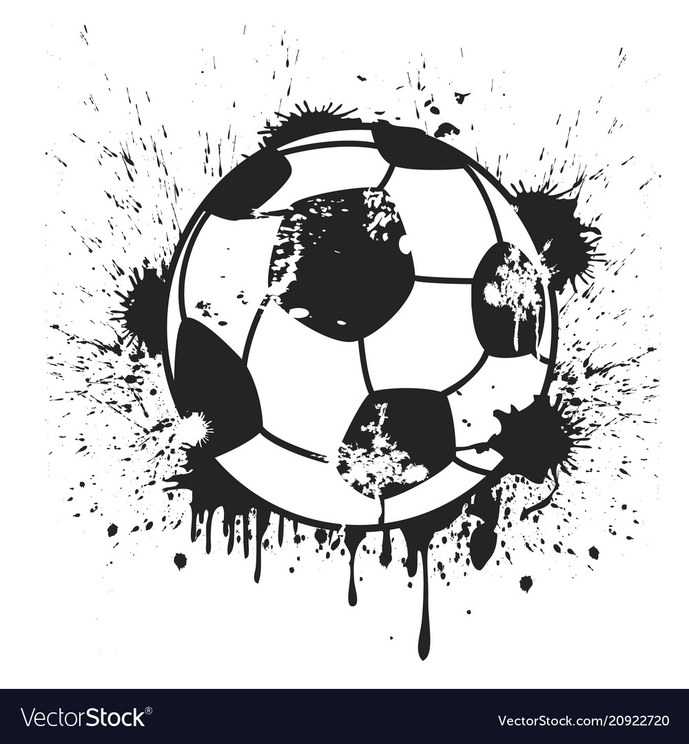 Grungy black soccer ball background vector image