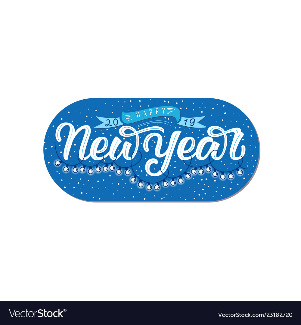 Happy new year hand draw lettering