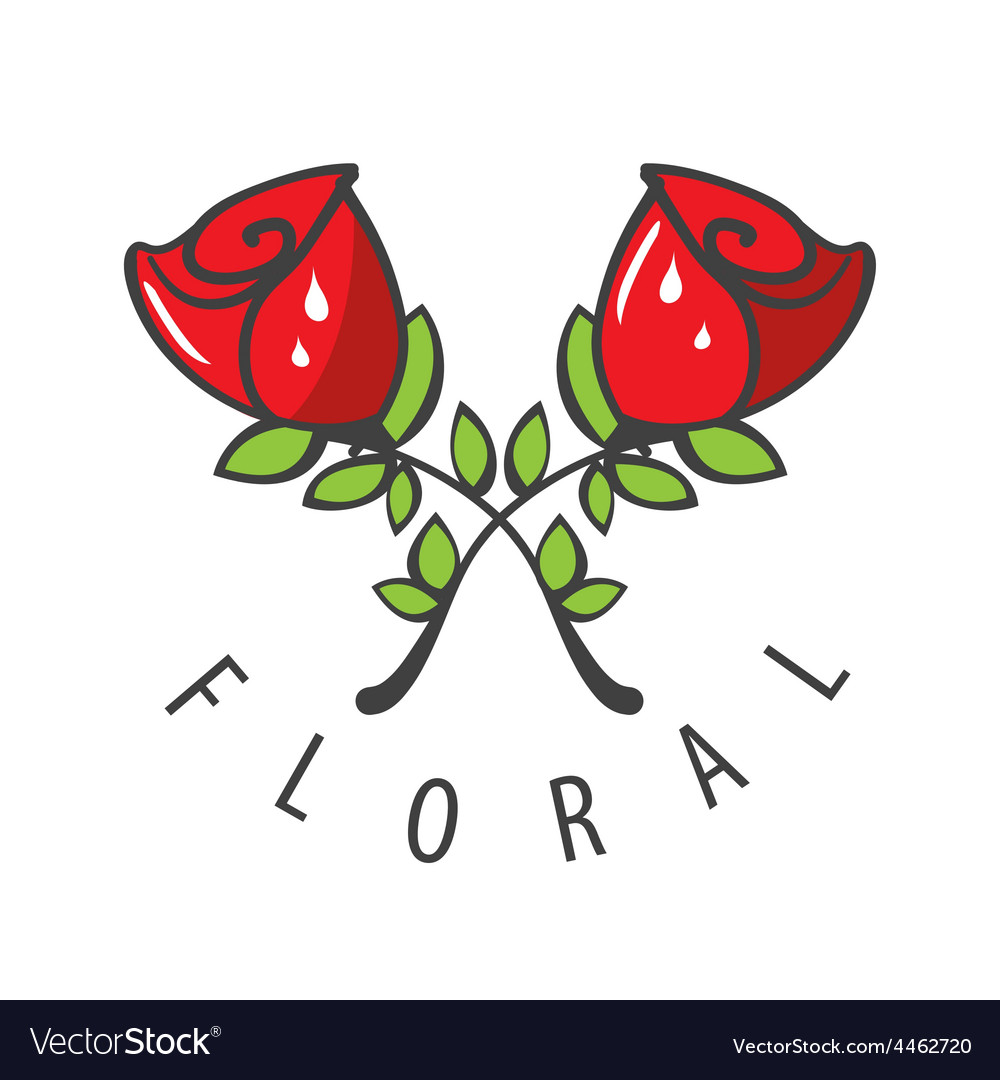 Logo Two Red Roses Royalty Free Vector Image Vectorstock