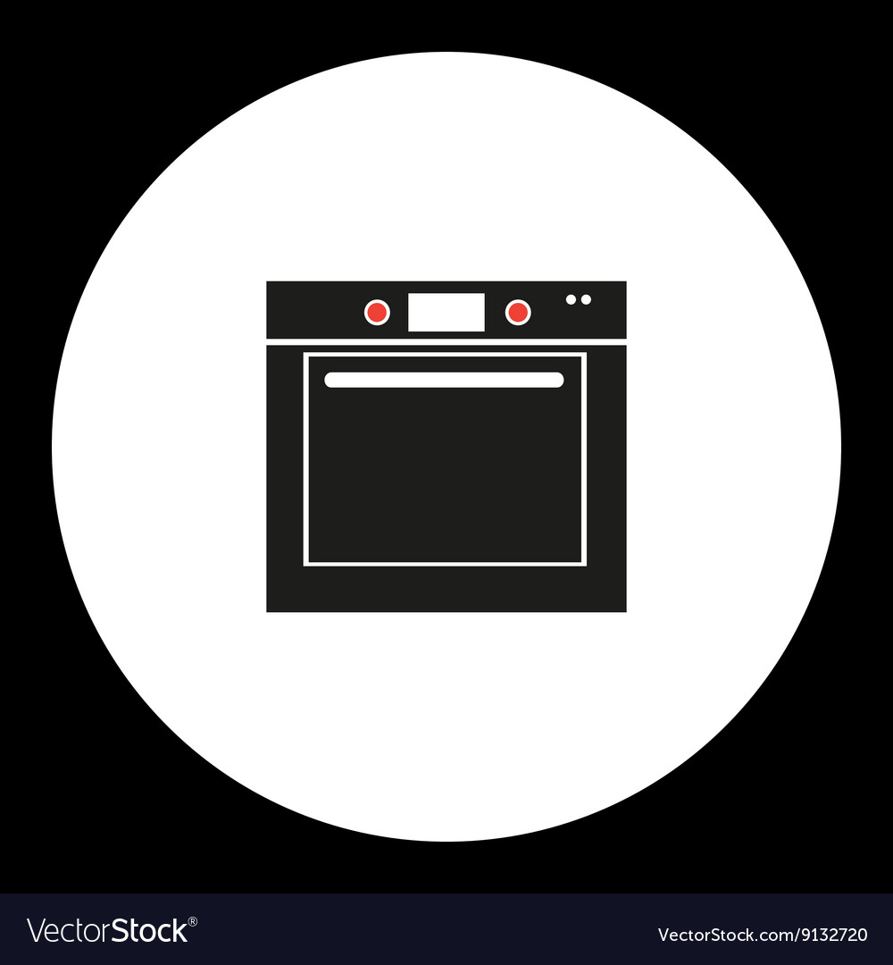 Oven simple isolated black and red icon eps10